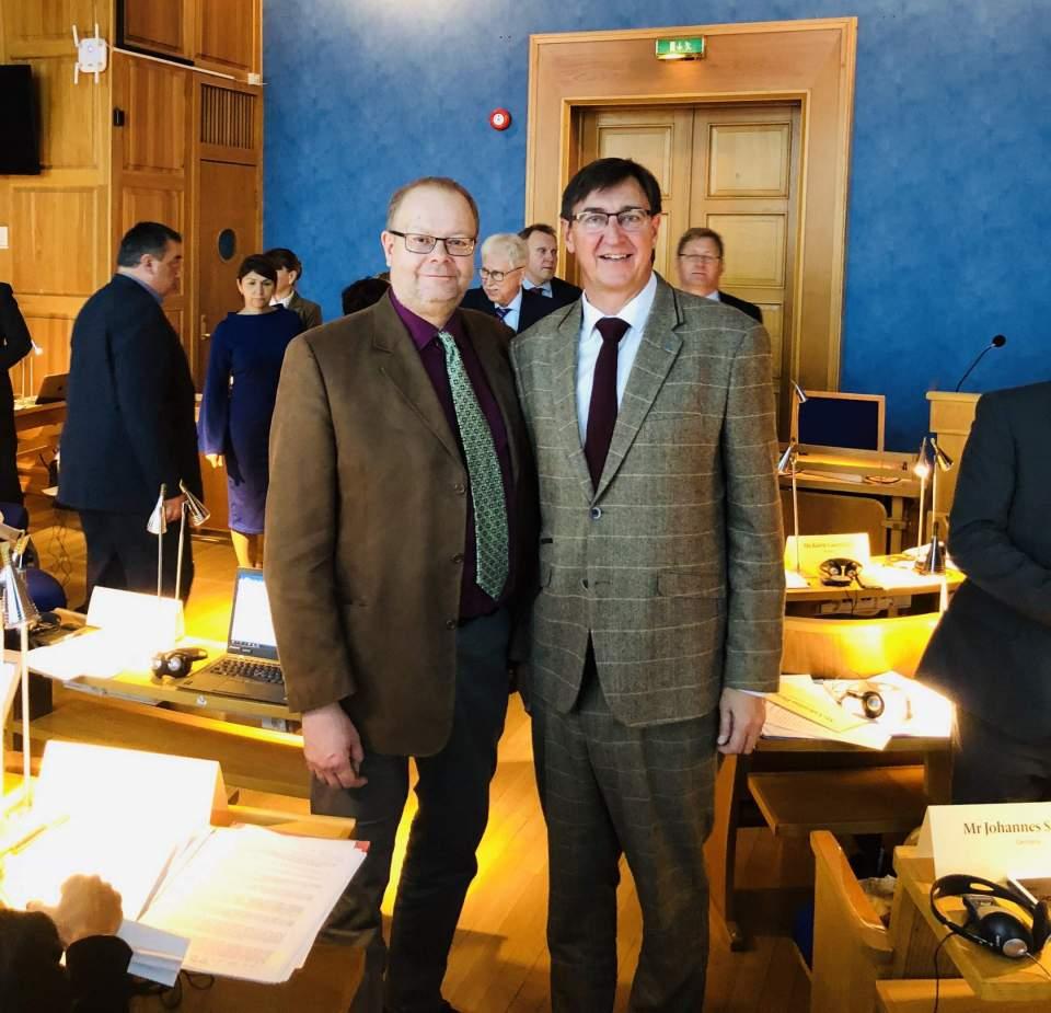 Delegationssekreterare Sten Eriksson från Ålands lagting och BSPC:s vice ordförande Jörgen Pettersson på plats i Trondheim där sjöfart, miljö och gemensamma utmaningar och möjligheter diskuterades. Foto: Johannes Schraps, Bundestag.