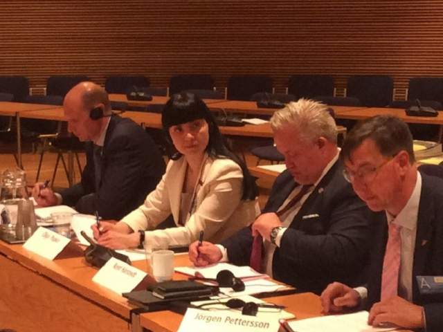Jörgen Pettersson håller sitt anförande. Bredvid honom sitter Kent Härstedt från Sveriges riksdag. Härstedt är OSEC:s speciella representant för Vitryssland. De övriga personerna som sitter bredvid dem på bilden är Olga Popko och Maxim Misko från parlamentet i Vitryssland.